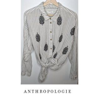 Anthropologie | White embroidered boho button down